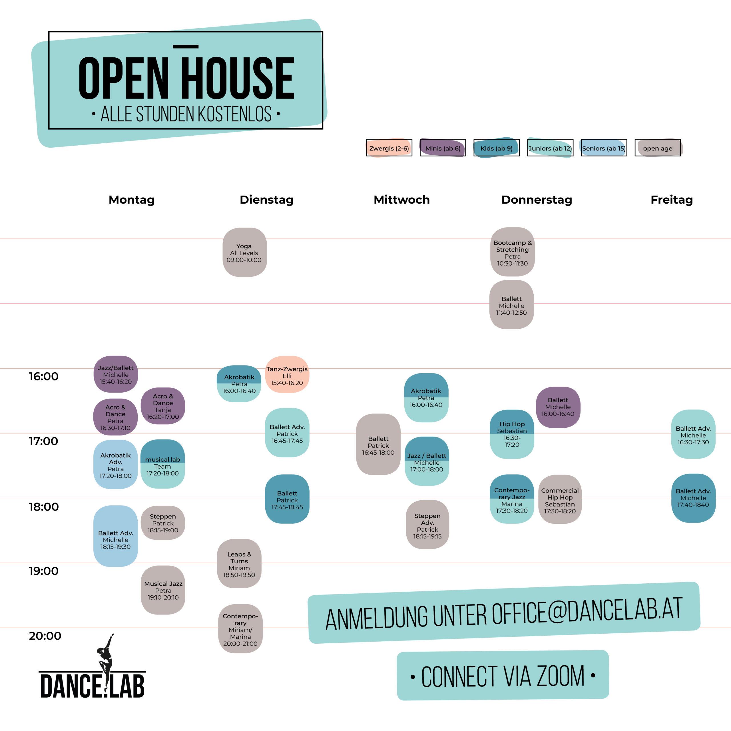 Open House 2021 Stundenplan